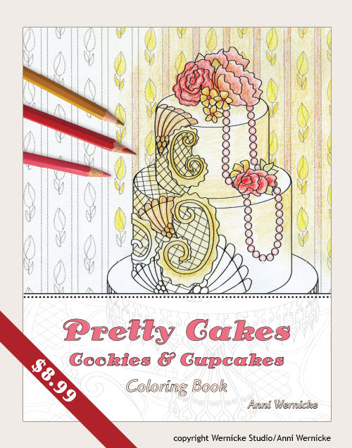 Coloring book for adults with fancy cake theme
