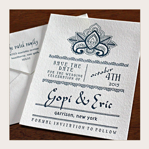 Indian wedding save the date card