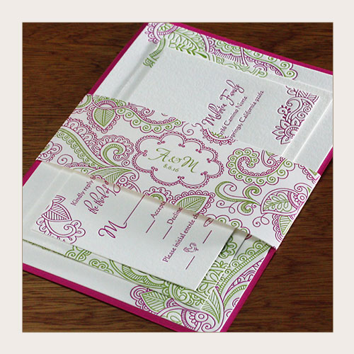 paisley themed wedding invitation suite