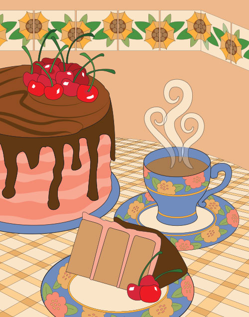 illustration of cherry cake