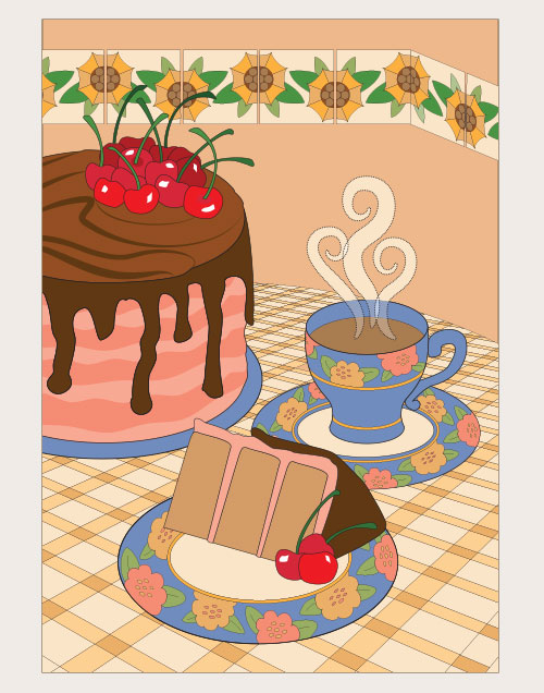 Chocolate cherry cake illustration