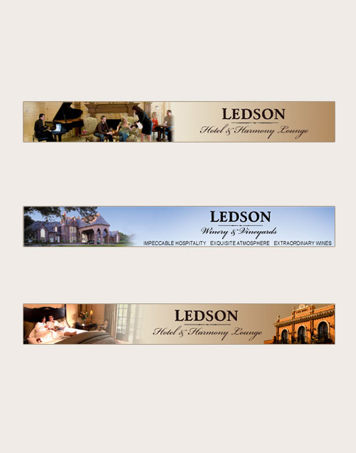 Banner ads for Ledson Winery and Hotel