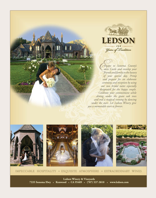 ad for Ledson Winery as a wedding location